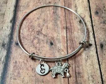 Sheep initial bangle - sheep jewelry, farm animal jewelry show sheep bracelet, state fair jewelry, sheep initial bracelet, farm jewelry