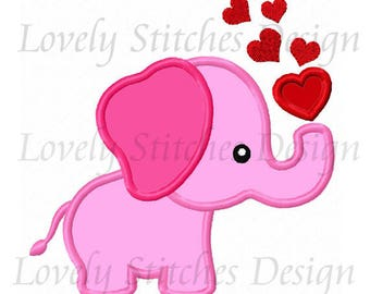 Valentine Day Elephant  With Heart Applique Machine Embroidery Design NO:0663