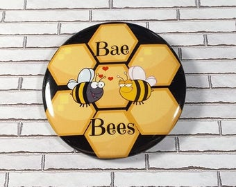 """Large 2.25"""" Bae Bees Pinback Button Or Magnet - Your Choice Bumble Bee Lover Gift w/ Honeycomb Backdrop"""