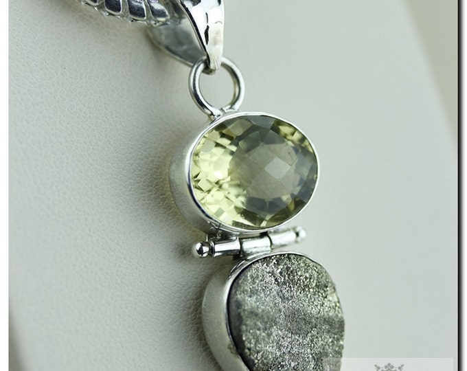Made in Italy! Rough Pyrite Cluster Druzy 10.3 Carat Citrine 925 SOLID Sterling Silver Pendant + 4mm Snake Chain & FREE Worldwide Shipping