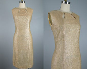 Vintage 1960s Gold Metallic Cocktail Dress 60s Shimmering Gold Lame Shift Dress by Alice Size M