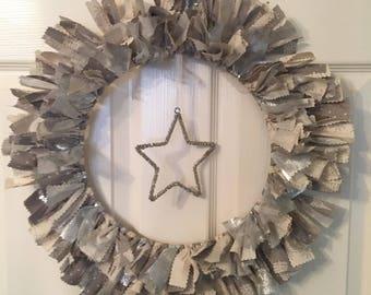 Xmas / Christmas Rag Fabric Wreath silver / grey