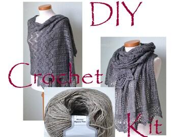 DIY Crochet Kit, Crochet shawl kit, IZUMI, CAMEL, yarn and pattern