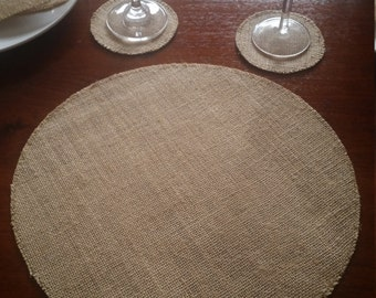 1x Round Burlap/Hessian Placemat for Weddings, Engagements, Celebrations, Parties etc.