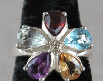 Multi Stone Flower Sterling Silver Ring Size 7