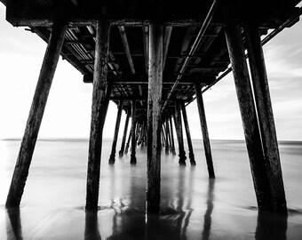 Pier Photograph, San Diego Pier, Black and White Ocean Photography, Architectural Print, Bold Print, California Print, Dark Wall Decor