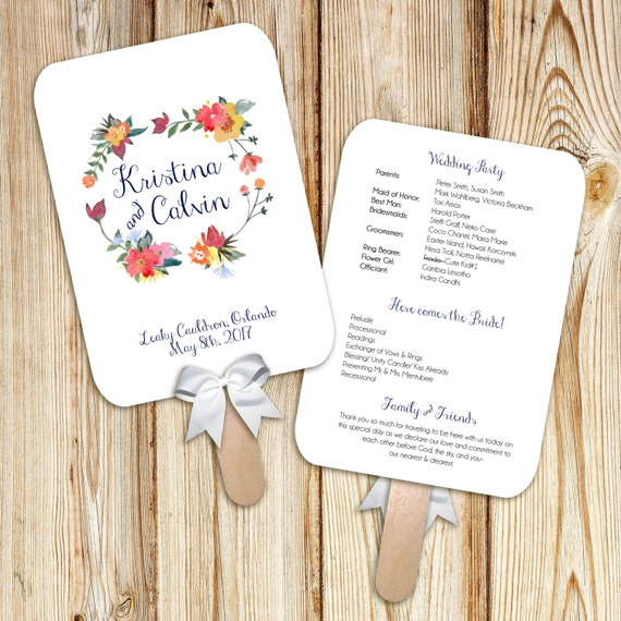 Printable Wedding Program Fan Digital File DIY Watercolor