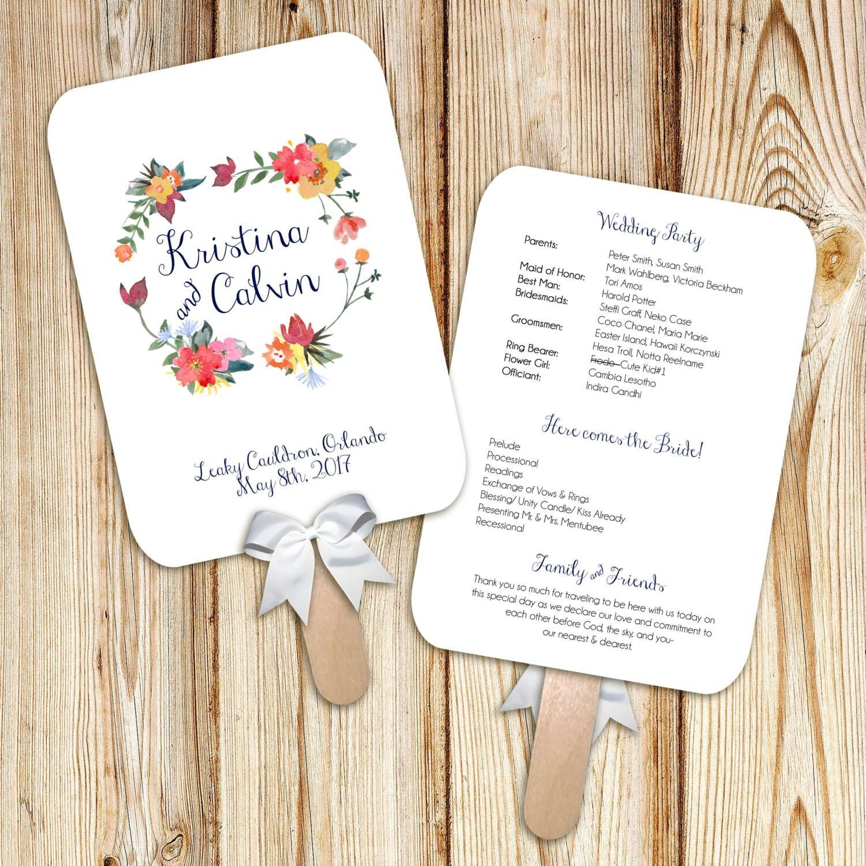 Printable Wedding Program Fan Digital File DIY Watercolor