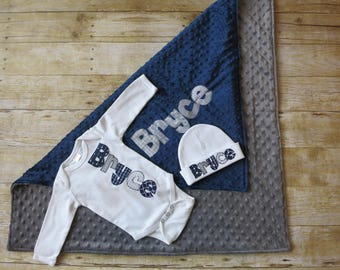 3 piece Baby Coming Home Outfit - Gown or Bodysuit, Hat & Navy blue and gray Blanket - Personalized Newborn Gift - Baby Bring Home Outfit