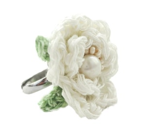 Crochet White Rose Flower Ring With Fresh Water Pearl in a Gift Box, White Rose Knit Ring, Adjustable Ring, Handmade Jewelry