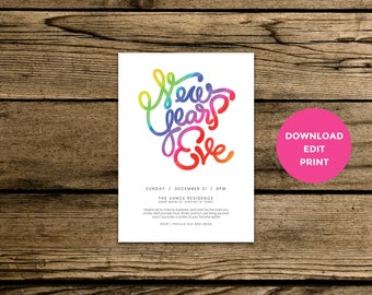 Editable New Years Eve Invitation - Rainbow Hand Drawn Typography - Instant PDF Download - Download, Edit, Print