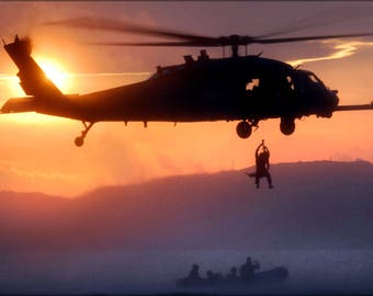 Poster, Many Sizes Available; Hh-60 Pave Hawk Helicopter At Sunset
