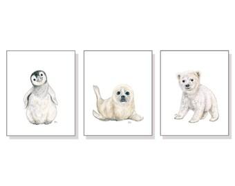 Neutral Nursery Art Arctic Nursery Decor Polar Bear Nursery Wall Art Penguin Nursery Print Baby Seal Nursery Gender Neutral Black White 3