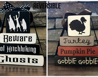 """REVERSIBLE Halloween and Thanksgiving """"MINI"""" stacker--Beware of Hitchhiking ghosts revereses with Turkey..."""