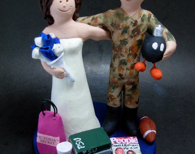 Soldier Wedding Cake Topper, Victoria's Secret Wedding Anniversary Gift/Cake Topper, Air Force/Navy Wedding Anniversary Gift,