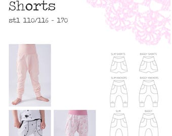 PDF- mönster Baggypants/slim - shorts, knickers och långa byxor stl 110/116-170;  Baggypants/knickers shorts approx sizes 4-18