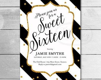 Sweet 16  Invitation / Black and Gold Glitter / Birthday Invitation / PRINTABLE INVITATION  /12520