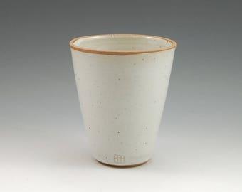 White Ceramic Tumbler 14 oz Stoneware Large Handmade Pottery Cup Pottery Beaker
