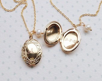 Initial Date Locket / Engraved Date Necklace Gold / Childrens Locket with Initial / Birthstone locket