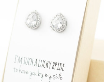 Cubic Zirconia /Silver Teardrop Stud Earrings - Crystal and Silver - Silver Bridesmaid Earrings Wedding Jewelry -Bridal