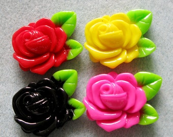 Rose With Leaf Flower Bead Cabochons Acrylic Lucite 32mm x 23mm 910
