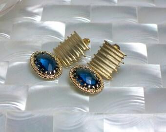 Sapphire Blue Earrings,  Post Earrings, Gold Earrings, Modern Jewelry, Fashion Earrings, Cubic Zirconia Earrings