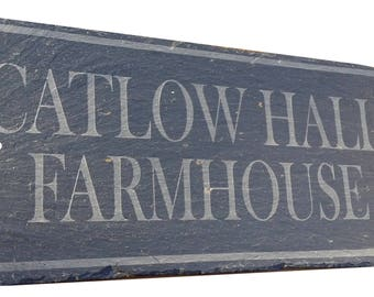 Slate House Sign, Door Gate Name Address Number House Farm Plaque Personalised