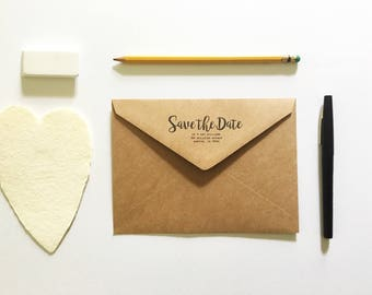 Custom Return Address Kraft Envelopes - Save The Date Envelopes - Custom Envelopes - Sized for A7 5x7 Cards - Wedding Stationery