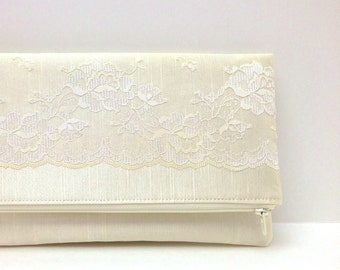 Wedding Clutch Foldover Purse, Bridal Accessory Gift Idea - Vintage Lace on Champagne Satin