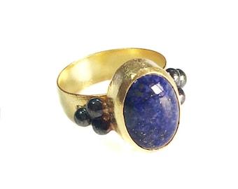 Lapis Ring with dots (made to order), Lapis Lazuli silver ring, gold lapis ring, blue Lapis Lazuli, oxidized ring, gemstone ring