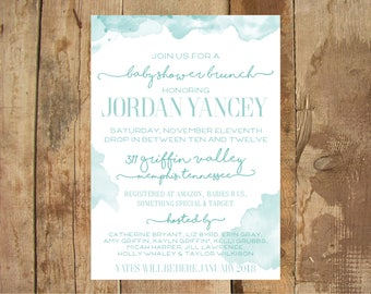 Watercolor Party Invitation - Baby Shower - Bridal Shower - Birthday Party - Food Cards - Printable - DIGITAL file ONLY
