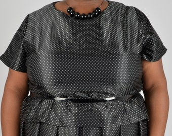 NEW! Black and Silver Polkadot Top PLUS SIZE Size 18 20 22 24 26 28 30