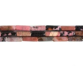 "13mm Matrix Rhodonite Cylinder tube loose gemstone beads 16"""