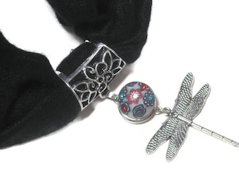 Interchangeable Dragonfly Scarf Pendant - Scarf Jewelry Slide - Scarf Necklace - Dragonfly Jewelry - Snap Button Jewelry