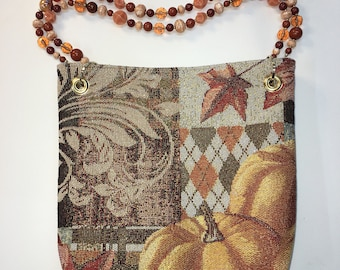 Autumn Purse #2 With Beaded Handles