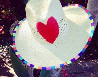 Hand Made Panama straw Hat that has LOVE all over!!!