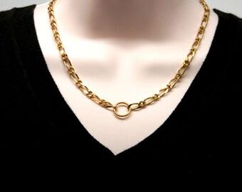 Discreet Slave Collar Vintage Gold Tone Heavy Figaro Chain Slave Day Collar