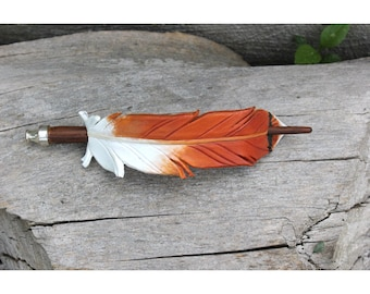 Red Tailed Hawk Feather - Leather Barrette - Bird Jewelry Hair Accessory with Stick