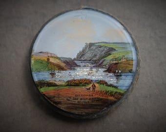 Antique Salcombe Bolt Head Reverse Painted Foil Souvenir Pocket Mirror / Victorian Travel / Antique Hand Painted Miniature