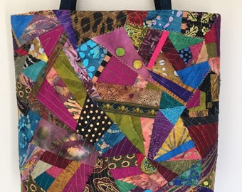 Multicolor one of a kind crazy patchwork tote bag