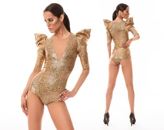 Sample Sale; Gold Bodysuit, Festival Playsuit, Burning Man Clothes, Holographic Clothing, Leotard, Dancewear, Aerial Silks, by LENA QUIST