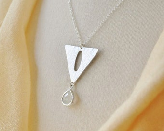 Modern Triangle Necklace/ Silver Triangle/ Glass Crystal Necklace/ Mod Necklace/Geometric Necklace/ Silver Necklace