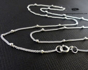 16 18 20 24 30 inch Satellite Chain (with 1.9mm bead) Necklace 925 Sterling Silver- FC25- 1 pc