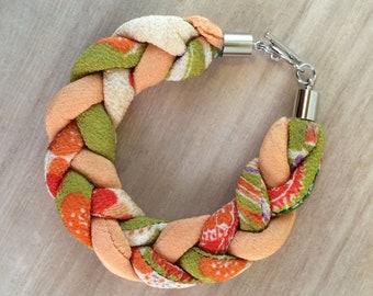 braided chirimen cord bracelet green/orange
