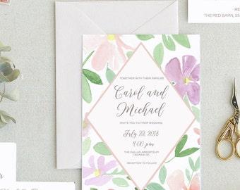 Peony Wedding Invitation Templates. Printable Wedding Invitation Templates. Floral Wedding Invitation. Botanical Wedding Invites. -19