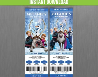 Disney Frozen Birthday Ticket Invitations (Set 3) - Instant Download and Edit with Adobe Reader