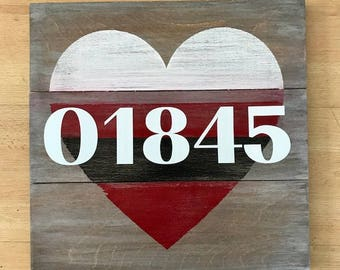Custom Zip Code Rustic Wooden Sign with custom colors 15x15