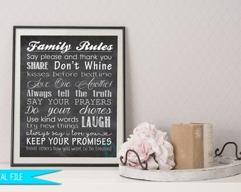 Family Rules Sign, House Rules Sign, Family Rules Printable, Sign with Family Rules, Personalized Family Rules, Custom House Rules Sign