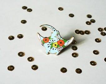 """Floral Manta Ray Hard Enamel Pin - 1.5"""" Gold Plated"""