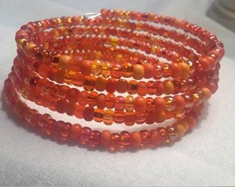 Orange Czech Bead Wrap Bracelet